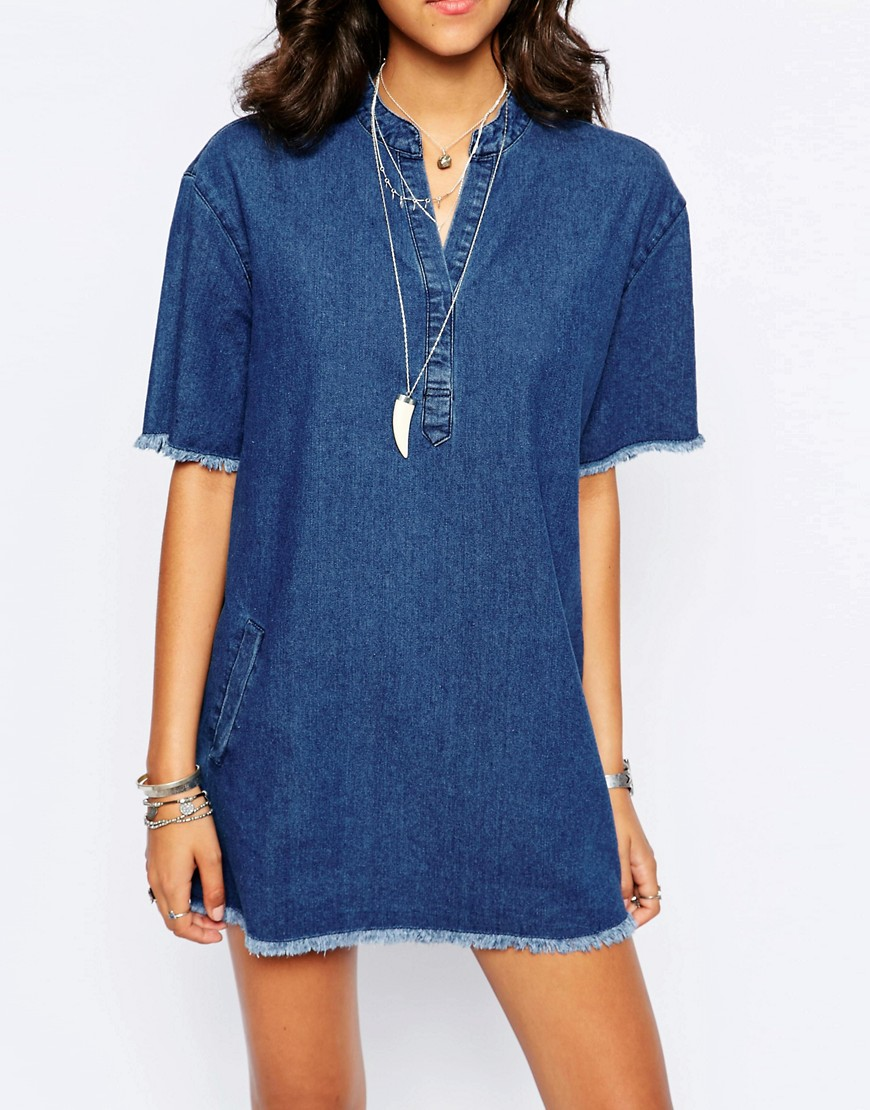Image 3 ofBoohoo Frayed Edge Denim Tunic Dress