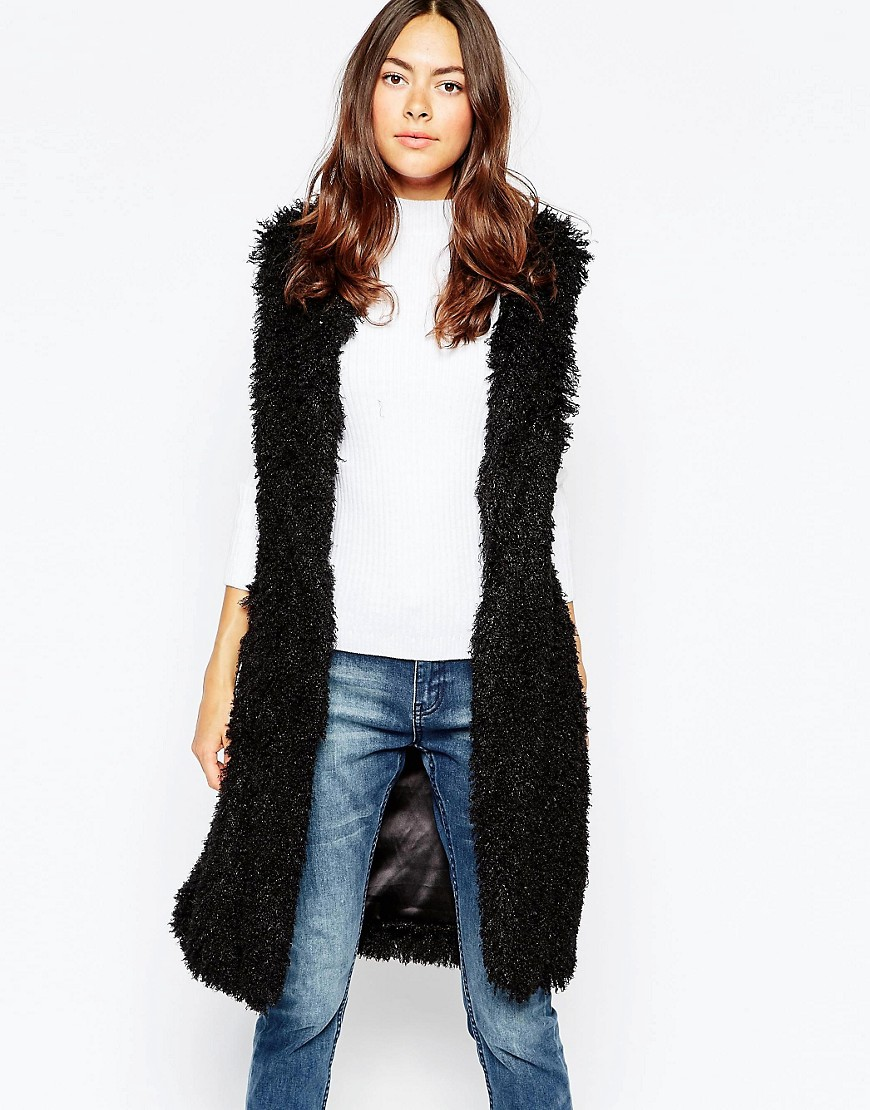 Image 1 of Brave Soul Faux Fur Long Line Vest