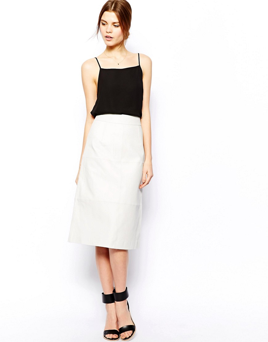 Image 1 of ASOS Column Pencil Skirt In Leather