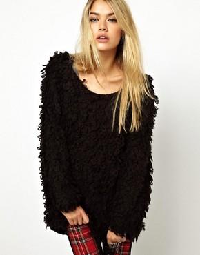 Pullover mit texturiertem Schlaufstrickmuster