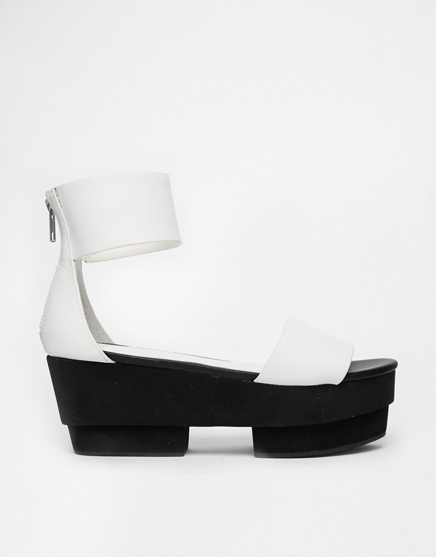 Bild 2 von Shellys – Cartore – Weiße, 2-teilige Ledersandalen