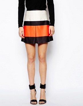 Image 4 of ASOS Stripe A-Line Skirt In Scuba