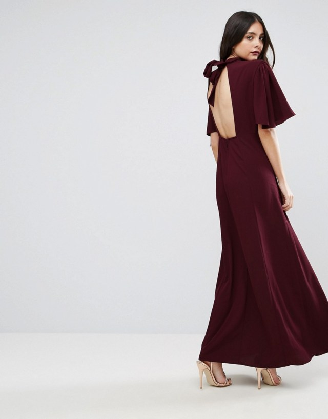 ASOS High Neck Flutter Sleeve Maxi Dress, $103