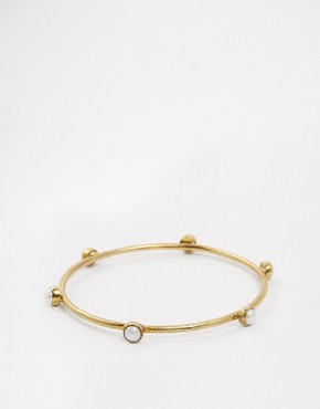 Image 1 of Mirabelle Brass Medieval Bangle With Pearls