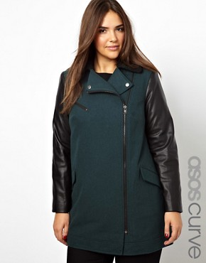 Image 1 - Exclusivité ASOS CURVE - Manteau avec manches en similicuir