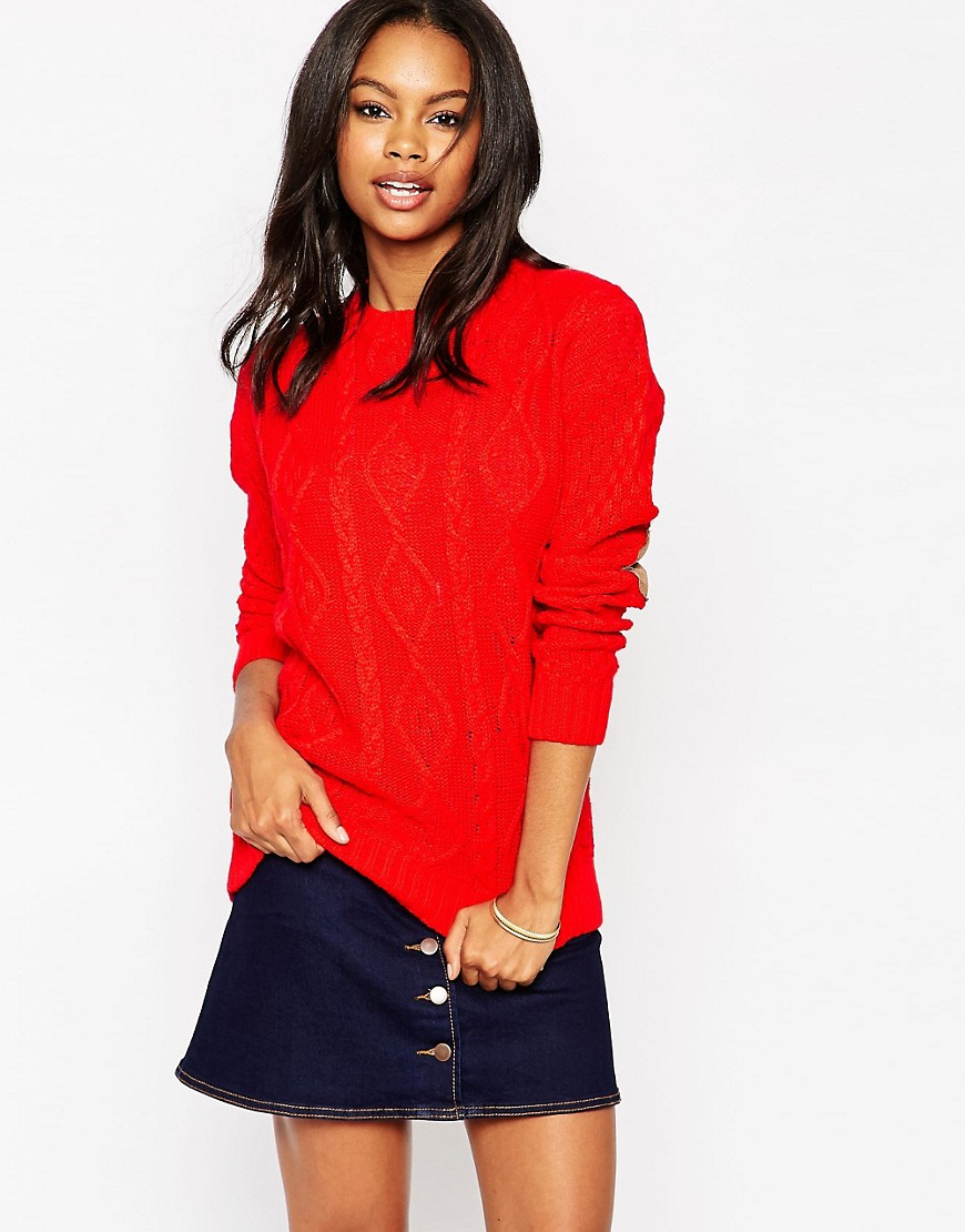 Image 1 ofGlamorous Cable Knit Sweater with Elbow Patches