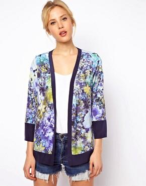 Americana con suave estampado floral y detalle colour block de ASOS