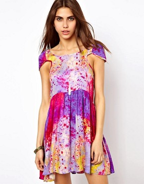 Somedays Lovin Smock Dress In Mystics Tie Dye