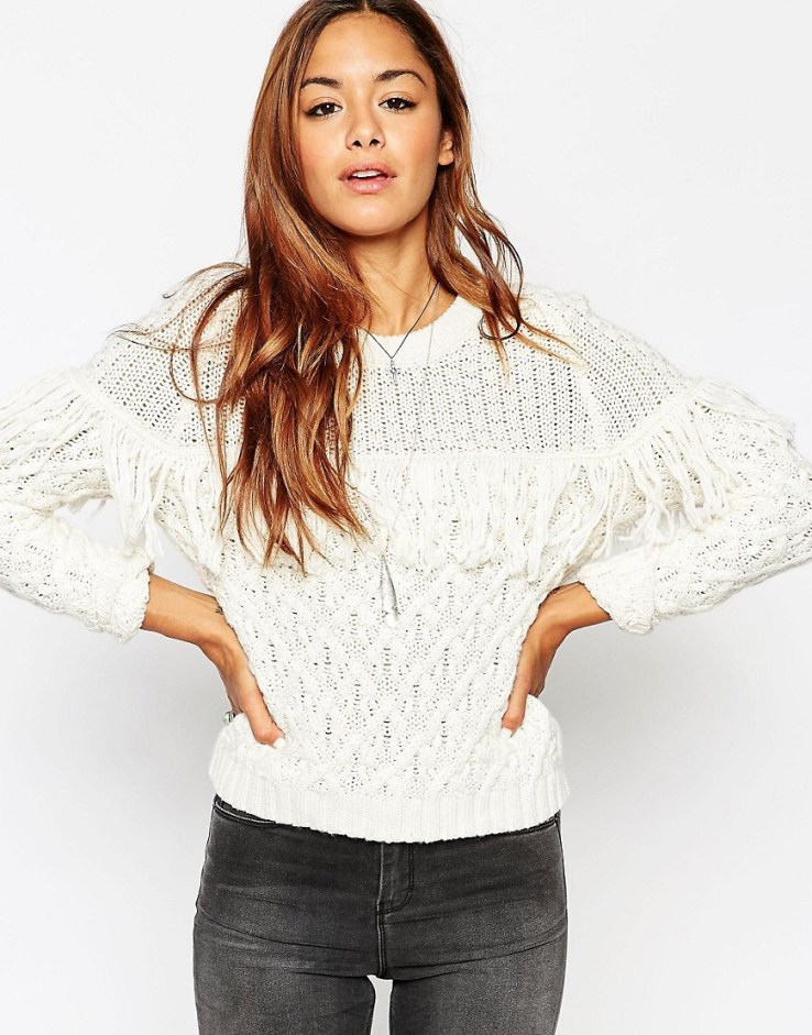 ASOS Cable Sweater With Fringing