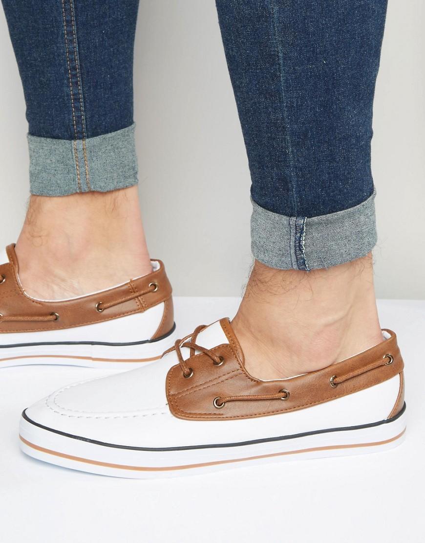 Image 1 - ASOS - Chaussures bateau en toile - Blanc