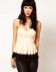 Thirty Four Disciples Lace Trim Peplum Top