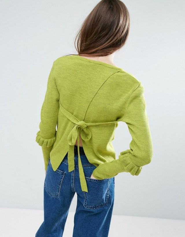 ASOS Sweater With Frill Sleeve And Open Back, $24
