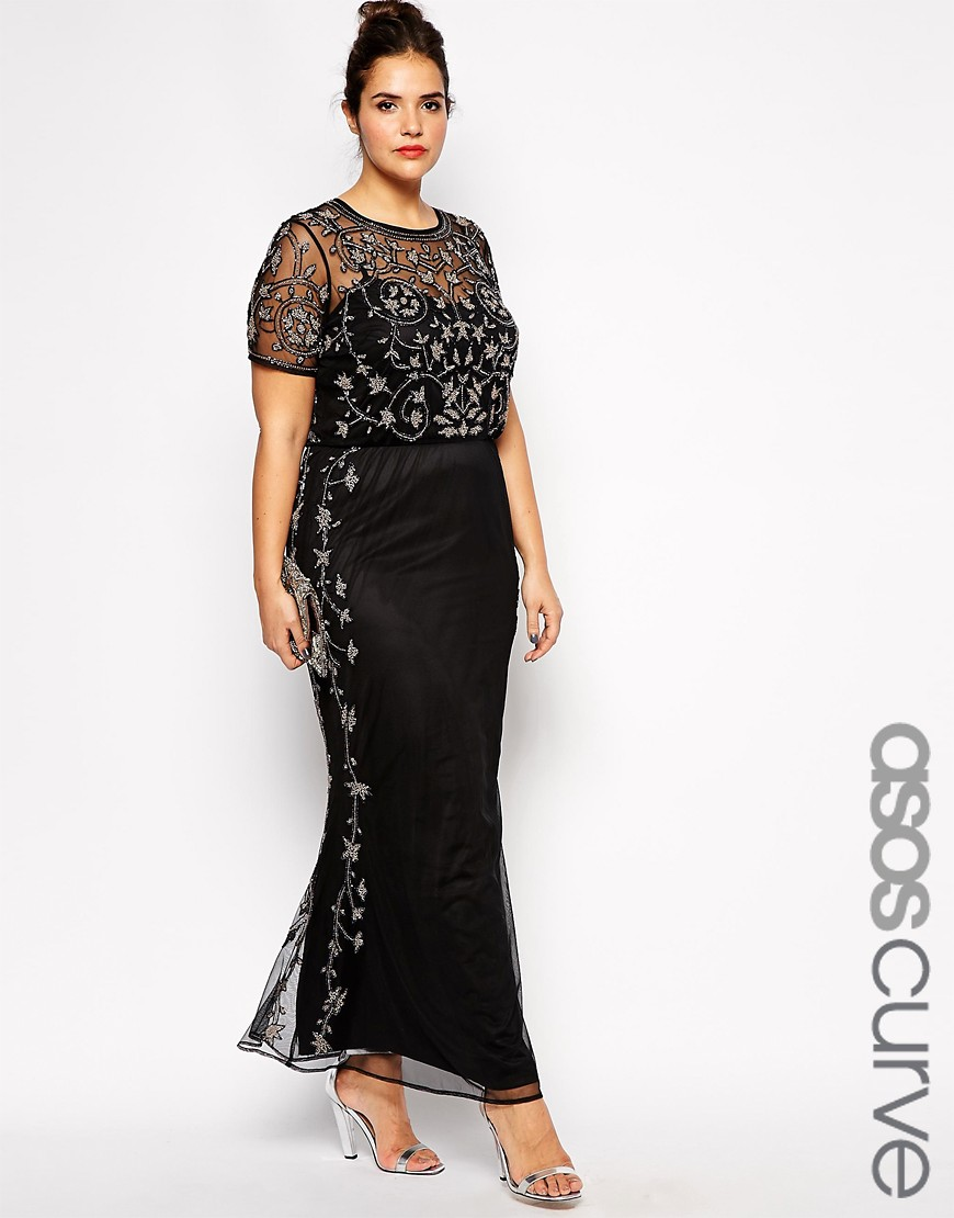 Pisarro Nights Beaded Illusion Gown Three Quarter Sleeve