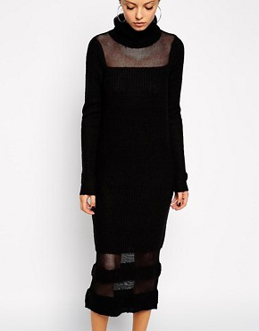Image 3 of ASOS Jumper Dress With Roll Neck And Sheer Inserts