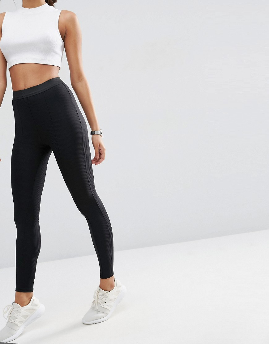 Image 4 of ASOS Premium Rib Elastic Leggings with Seam Details