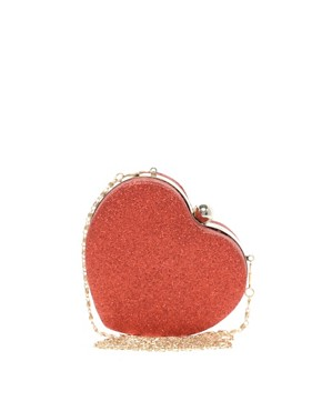 Image 1 of New Look Glitter Heart Box Clutch