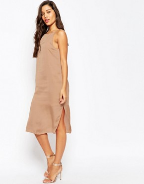 ASOS Midi Cami Slip Dress in Hammered Satin