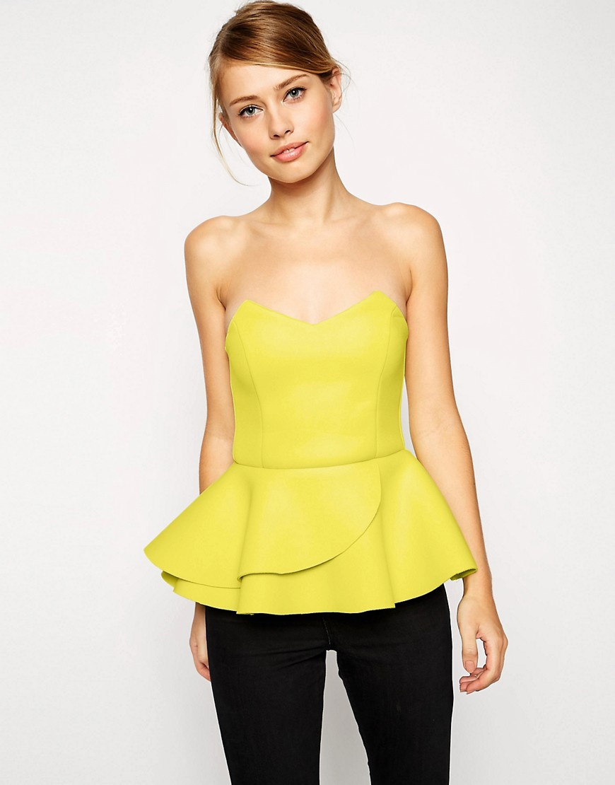Image 1 of ASOS Bandeau Top with Double Ruffle in Premium Fabric