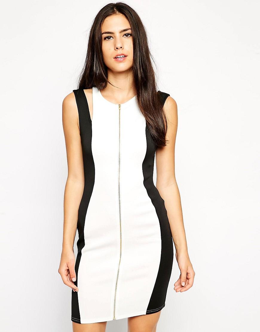 robe-bicolor-noire-blanche-zip-Lipsy-Asos
