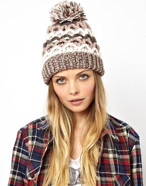 Image 1 of Pull&Bear Chunky Knit Bobble Hat