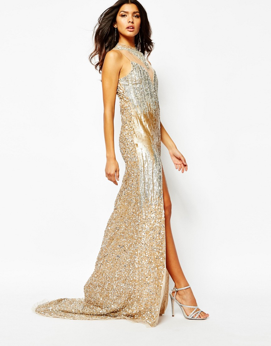 Image 4 of A Star Is Born Luxe Allover Jewel Embellished Maxi Dress With Red Carpet Train