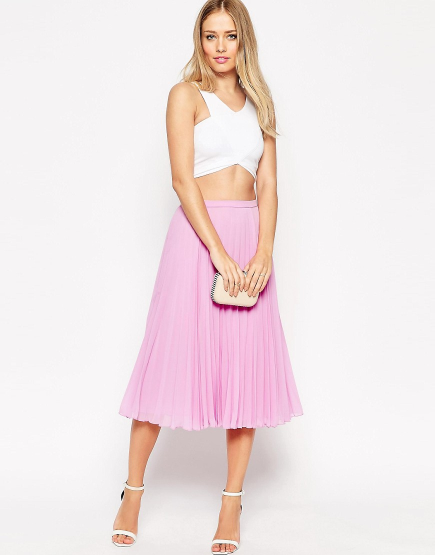 Image 1 of ASOS Pleated Midi Skirt
