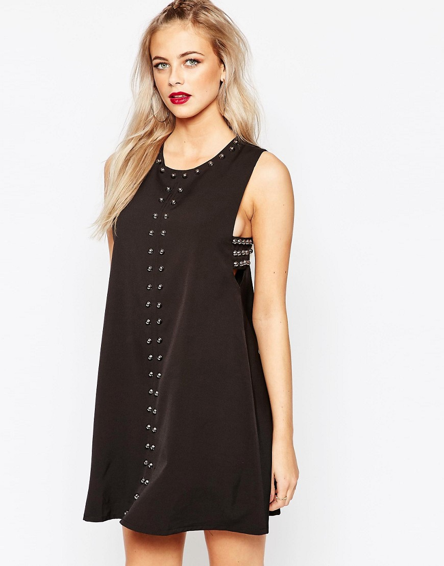 Image 1 of Boohoo Stud Detail Tab Shift Dress