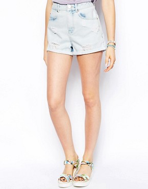 Image 4 of ASOS High Waist Denim Mom Shorts in Bliss Light Wash