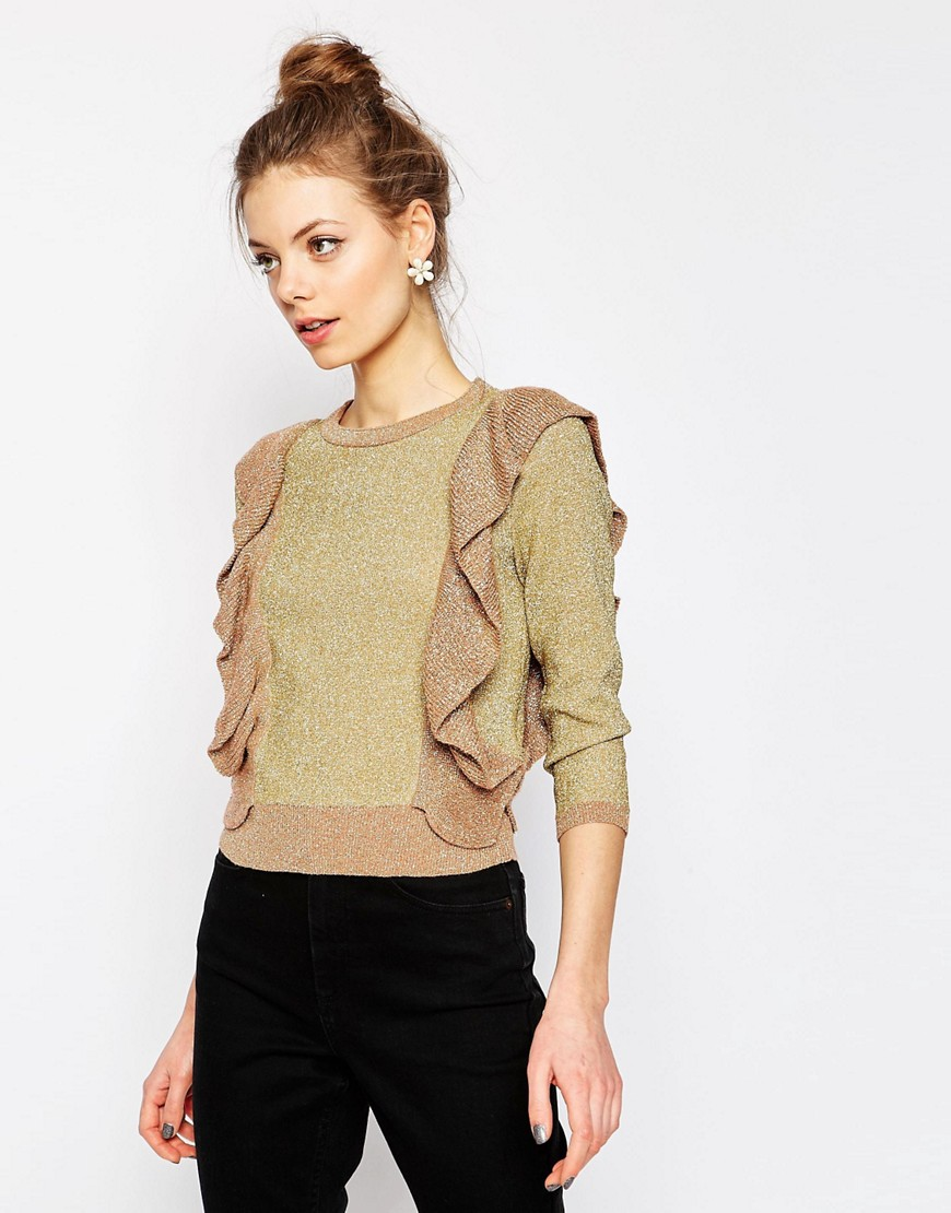 Image 1 of ASOS Metallic Jumper with Ruffle Detail