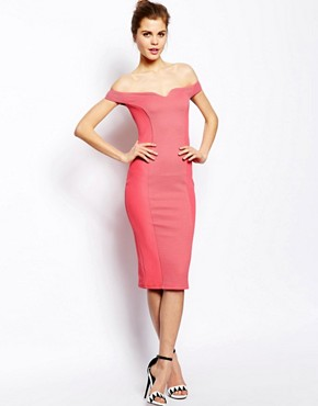 Image 1 of ASOS Texture Bardot Midi Bodycon Dress