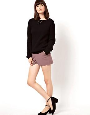 Image 1 ofASOS Shorts with Scallop Hem