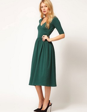 Image 1 of ASOS Midi Dress With Ballet Wrap