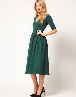 Image 1 ofASOS Midi Dress With Ballet Wrap
