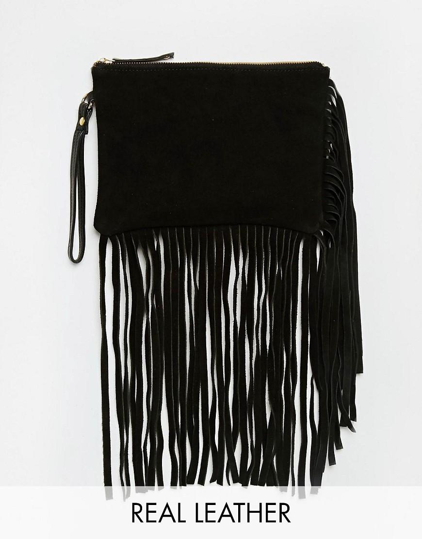 Image 1 ofASOS Suede Fringed Clutch Bag