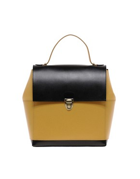 Image 1 of ASOS Leather Boxy Bag With Top Handle