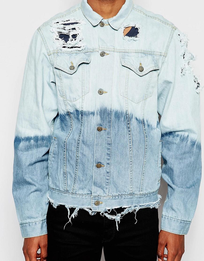 Image 3 ofReclaimed Vintage Denim Jacket In Dip Dye