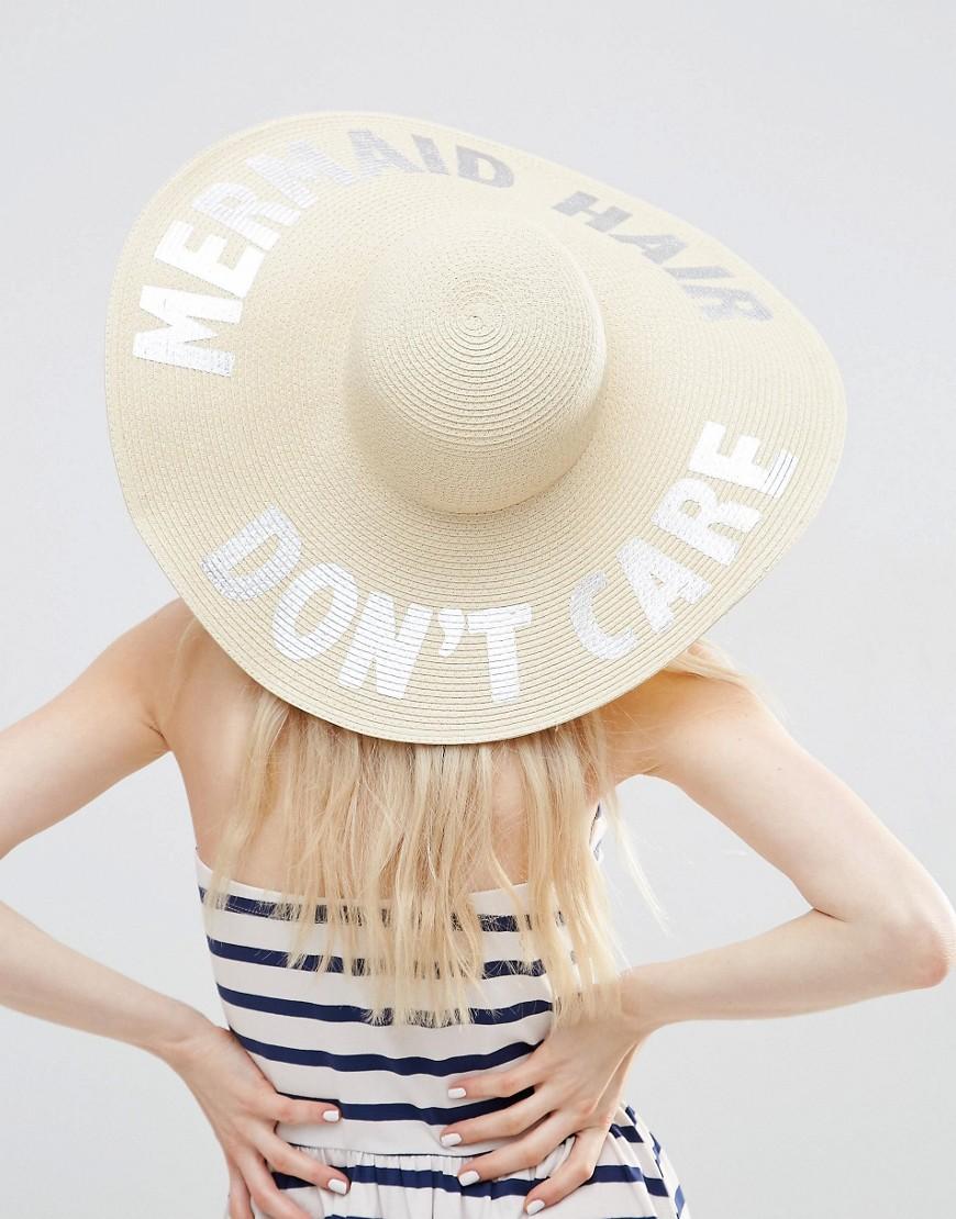 Image 1 - ASOS - Mermaid - Chapeau mou oversize en paille avec slogan métallisé