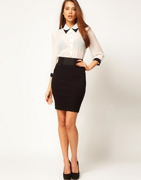 Image 1 of ASOS Tailored Bengaline Tab Front Pencil Skirt