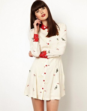 Nishe Shirt Dress With Butterfly Embroidery and Contrast Collar