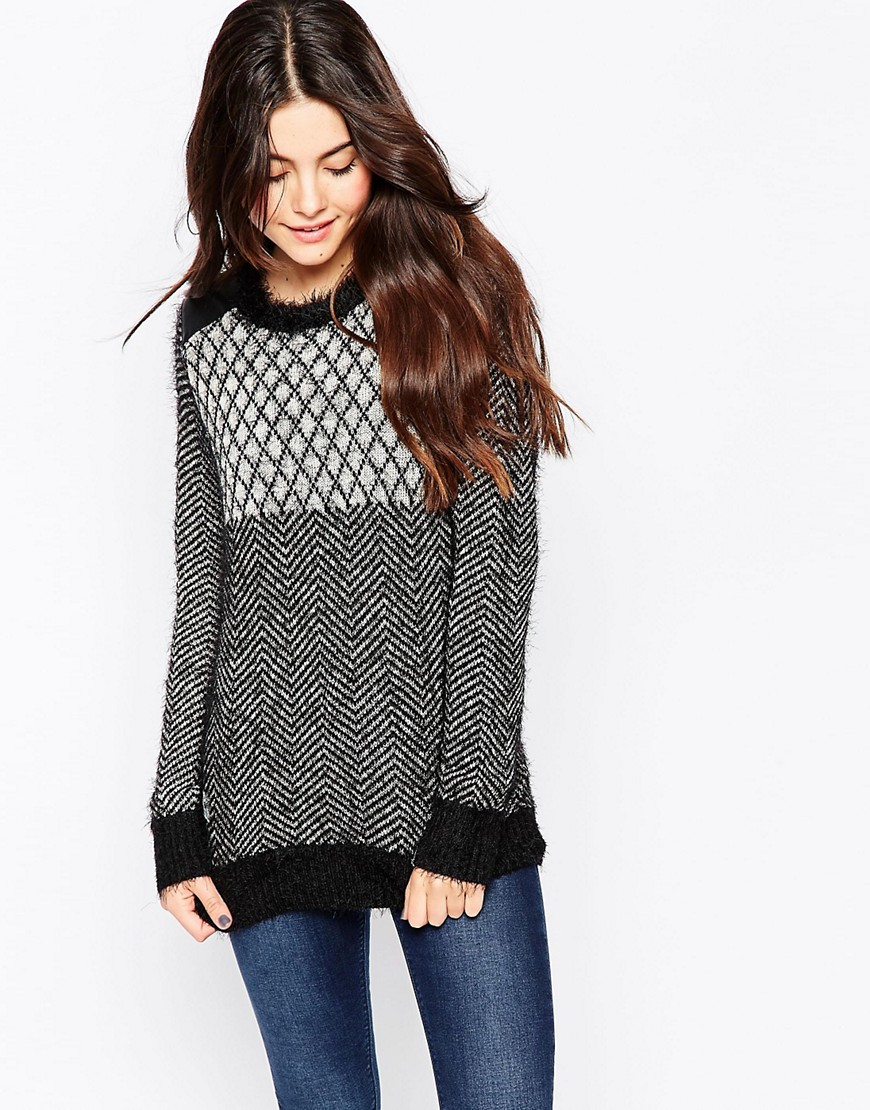 Image 1 of Bellfield Chunky Knit Jumper With Grid Panel