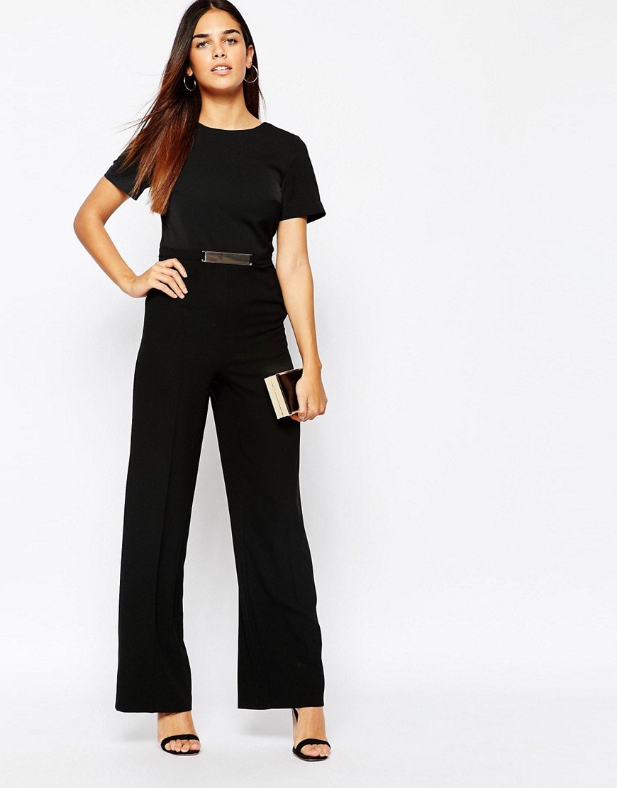 Image 1 of Warehouse Wide Leg Belted Detail Jumpsuit