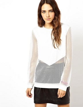Image 1 of ASOS Neoprene and Mesh Sweatshirt