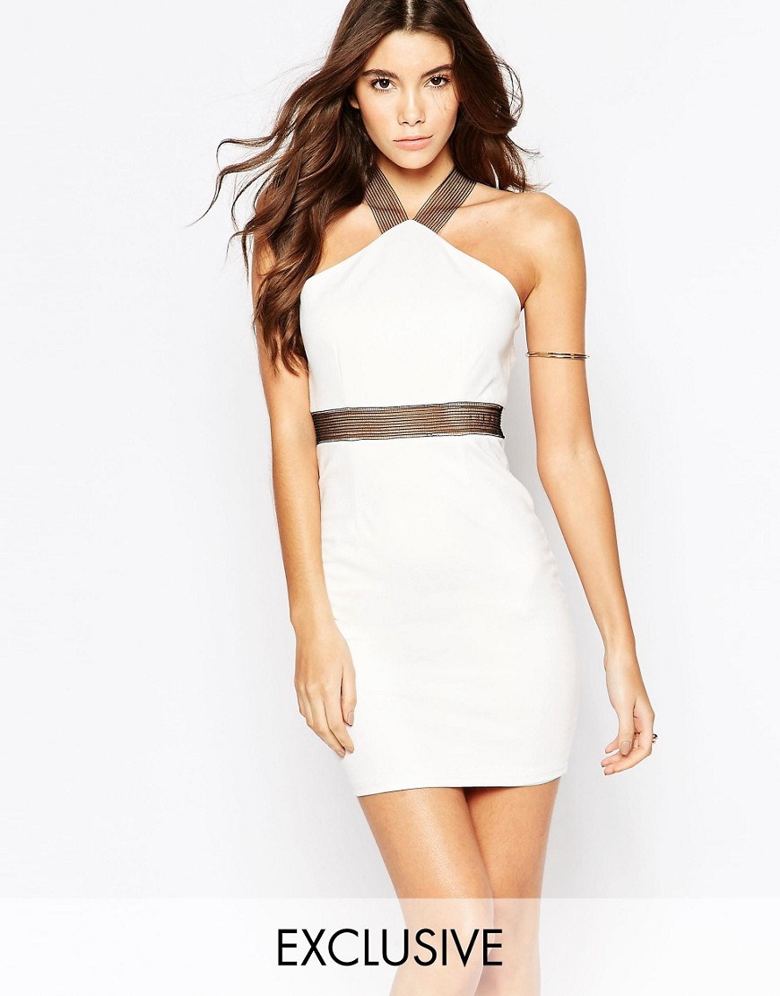 Image 1 of NaaNaa Mini Bodycon Dress With Mesh Strap Detail