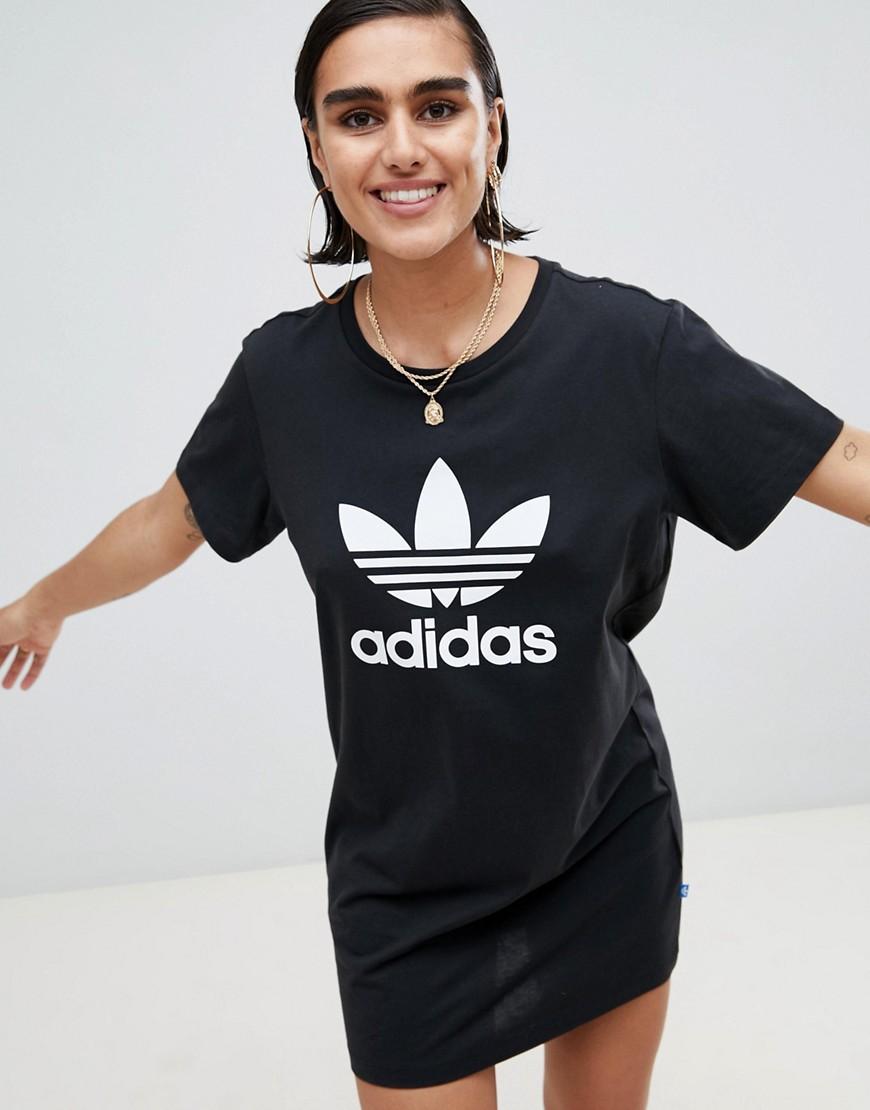 Image 1 -adidas Originals T-Shirt Dress With Trefoil Logo