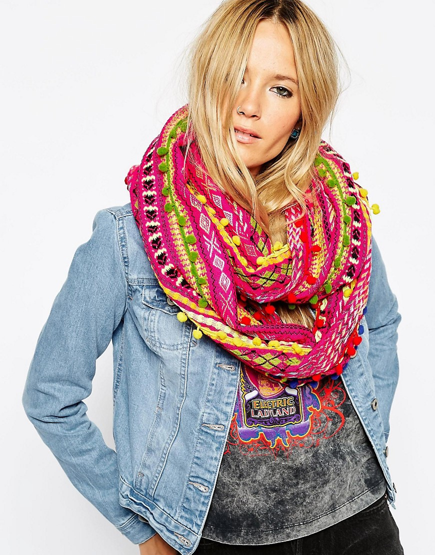 Image 1 of ASOS Pom Pom Trim Infinity scarf In Geo-Tribal