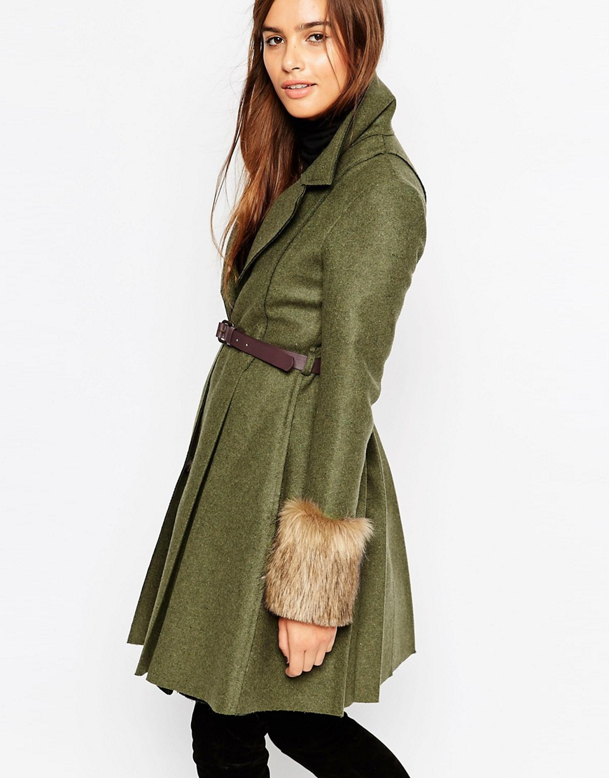 Image 1 of ASOS Coat with Skater Skirt and Faux Fur Cuffs