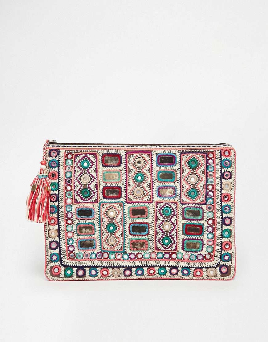 Image 1 of Star Mela Sari Hand Made Embellished Clutch with Zip Top