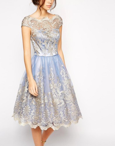 London Premium Metallic Lace Prom Dress with Bardot Neck £67 by Chi Chi at ASOS