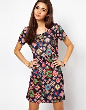 Image 1 ofASOS Smock Dress In Blanket Print