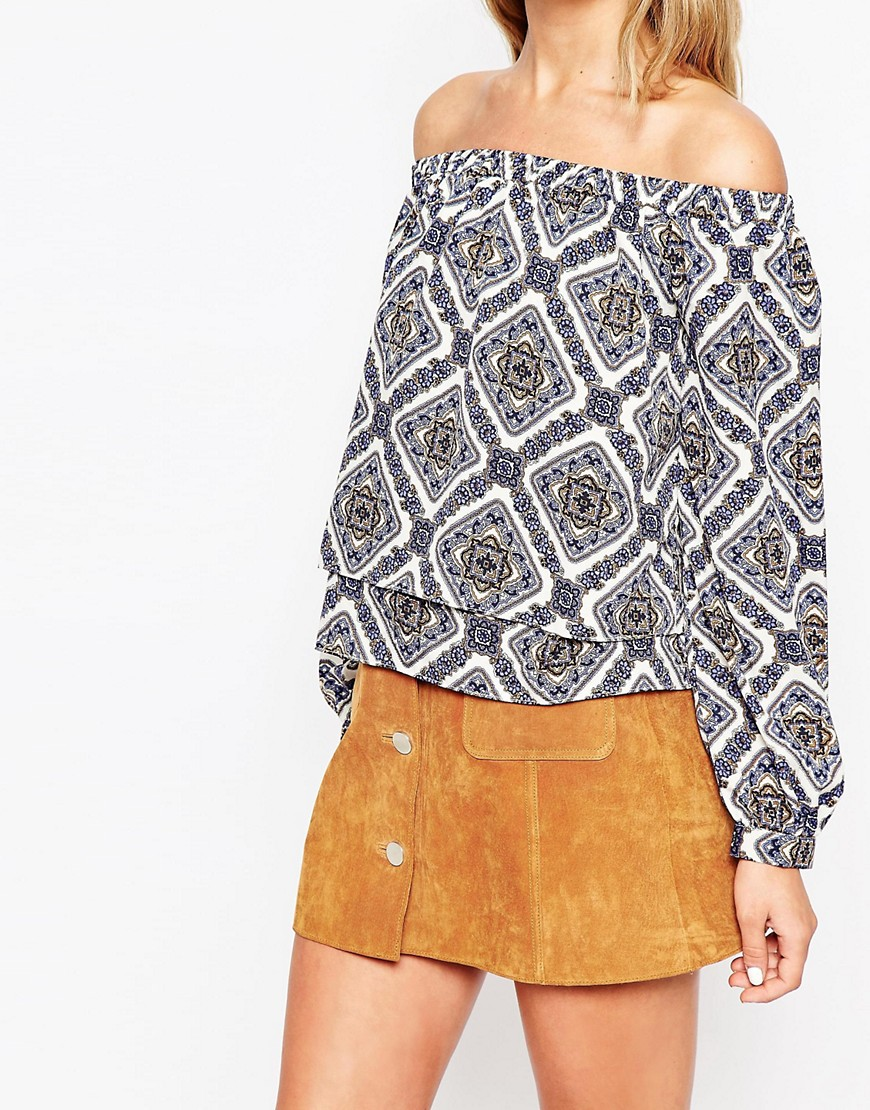 Image 3 of ASOS Folk Print Off The Shoulder Top